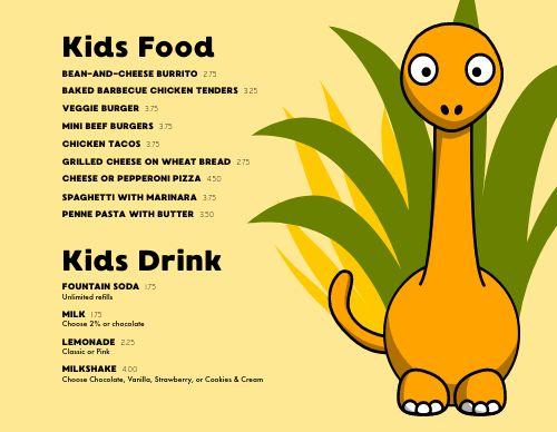 Dinosaur Children's Menu