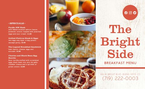 Country Style Breakfast Takeout Menu