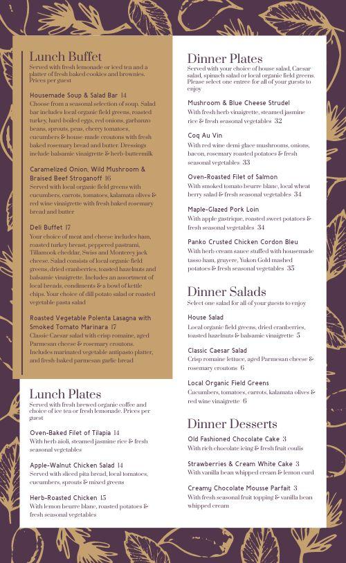 Purple Catering Menu