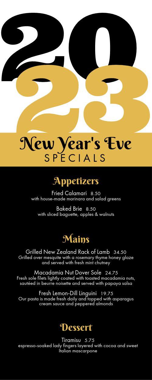 New Years Specials Half Page Menu