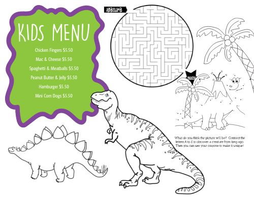 Jurassic Kids Menu