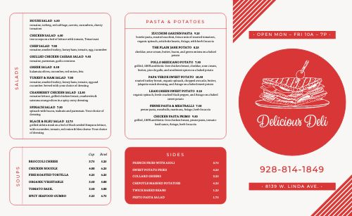 Abstract Deli Takeout Menu