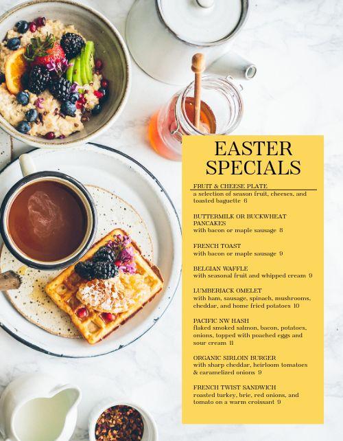 Easter Breakfast Specials Menu