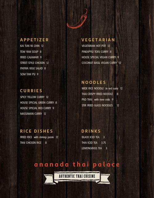 Thai Fine Dining Menu