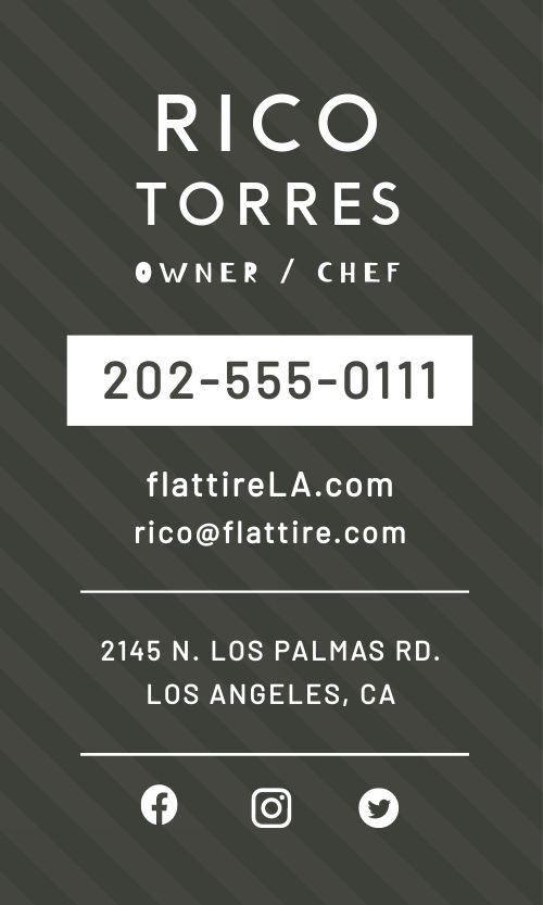 Food Truck QR Code Business Card