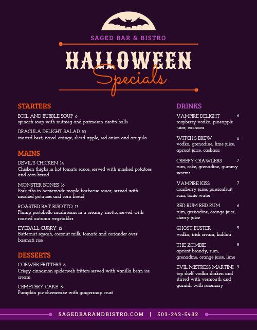 Halloween Bar Menu