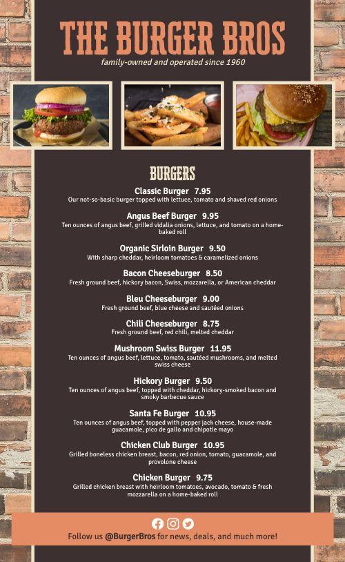 Brickwall Burger Menu