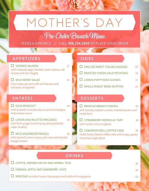 Moms Day Preorder Form