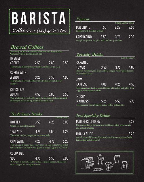 Coffee Truck Menu Poster