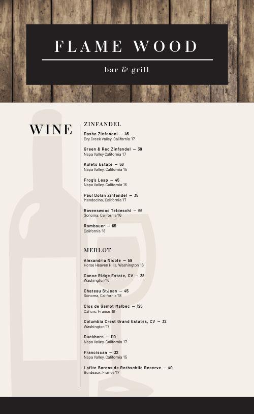 Rustic Wine List Menu