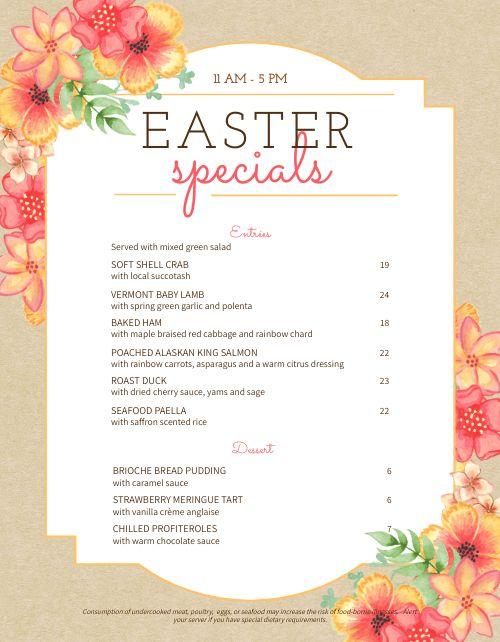 Fun Easter Menu