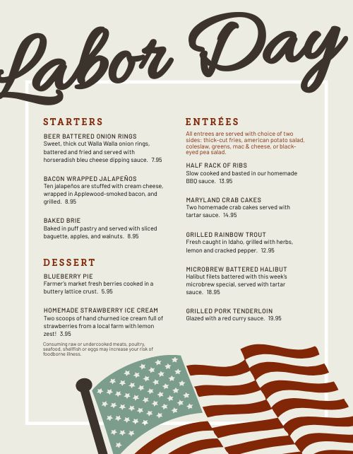 Printable Labor Day Menu