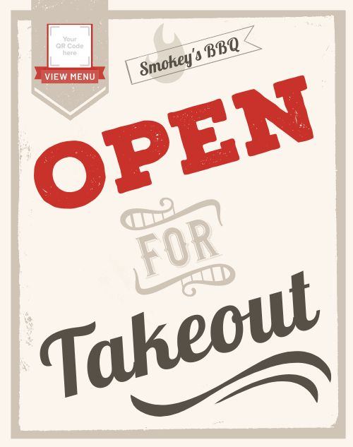 Takeout Open Sidewalk Sign