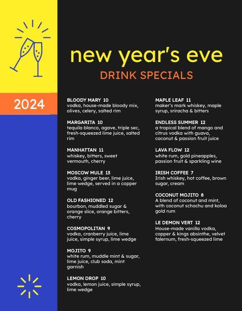 New Years Drink Specials Menu