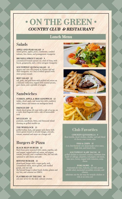 Restaurant Country Club Menu