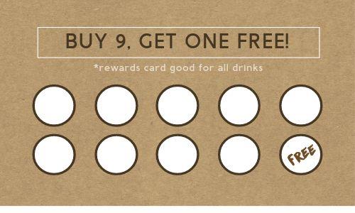 Coffee Drinks Loyalty Card