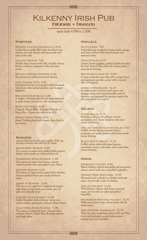 Irish Tavern Menu