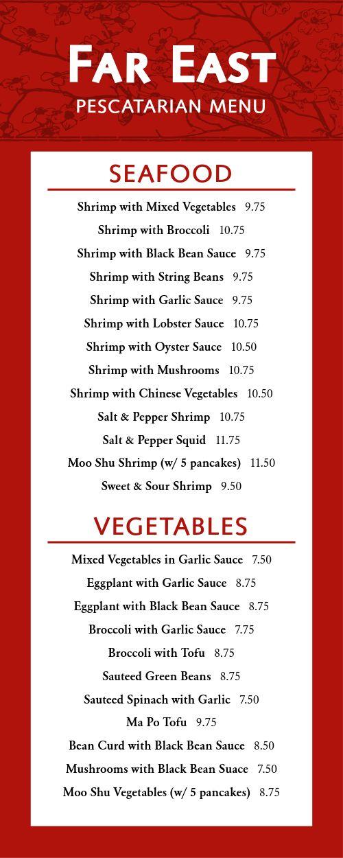 Chinese Seafood Half Page Menu