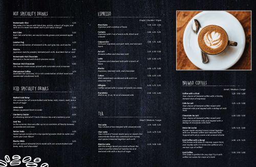 Charcoal Coffee Folded Menu