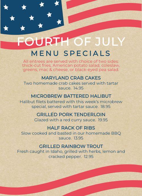 Fourth of July Tabletop Menu