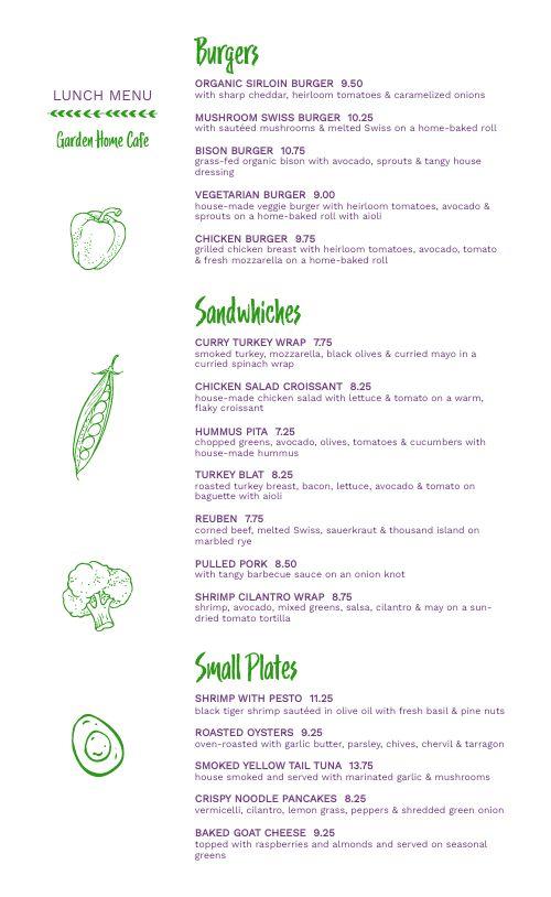 Garden Lunch Cafe Menu