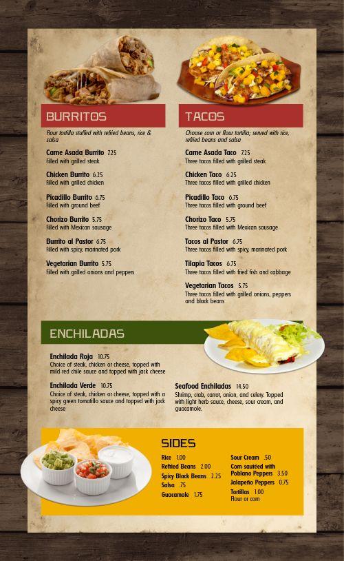 Fresh Mexican Menu