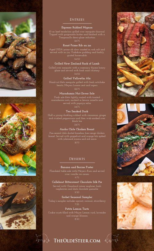 Gourmet Steakhouse Menu