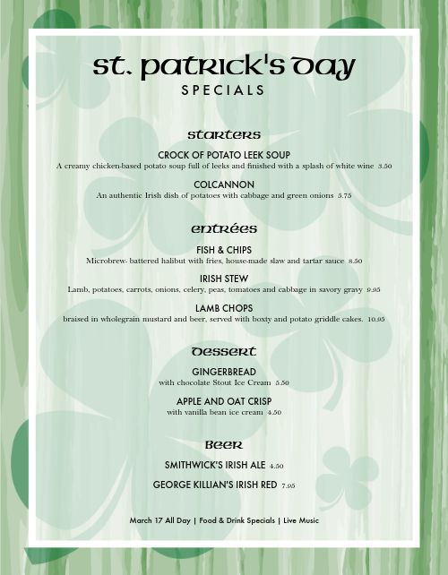 St Paddys Menu Specials