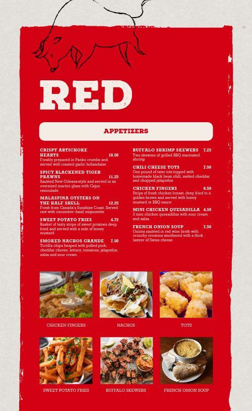 Red Steakhouse Menu