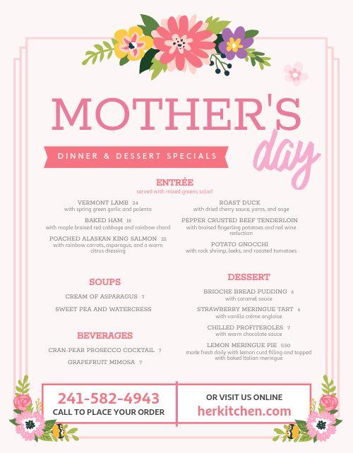 Mothers Day Dinner Menu