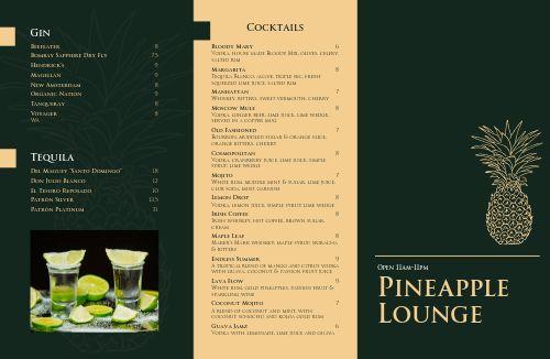 Tropical Cocktail Lounge Folded Menu
