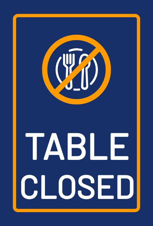 Table Closed Table Placard