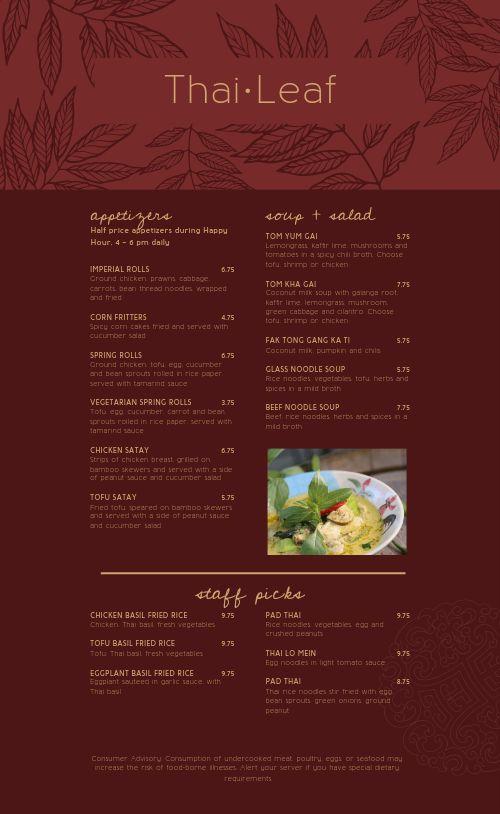 Thai Leaf Menu