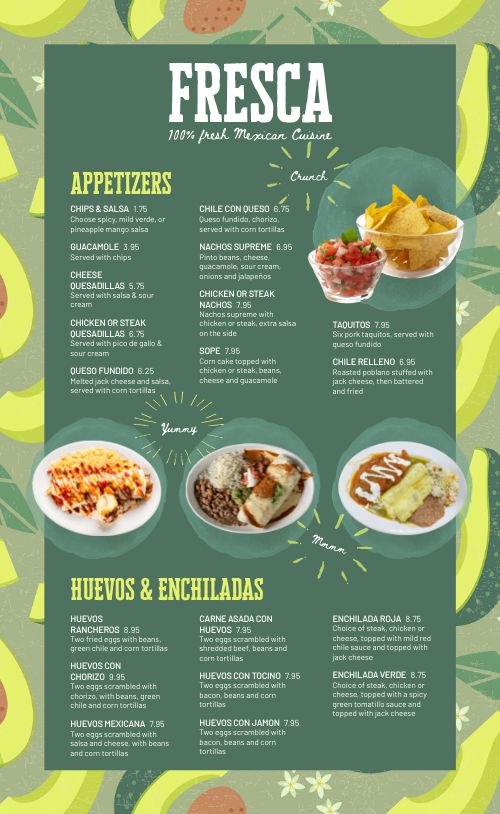 Guacamole Mexican Menu