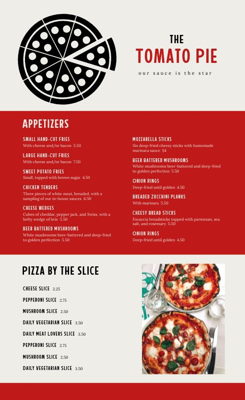 Specialty Pizza Pie Menu