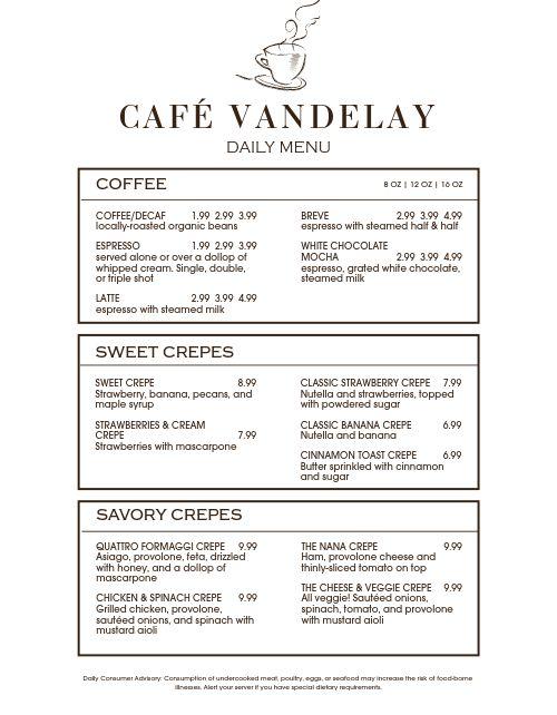 Cafe Ticket Menu