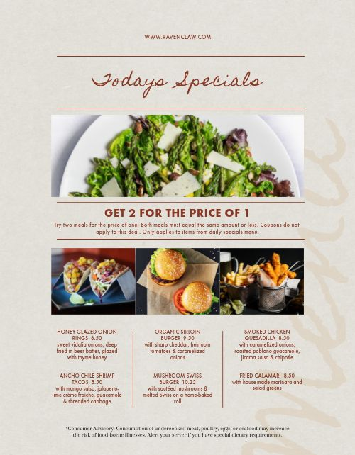 Daily Specials Salad Menu
