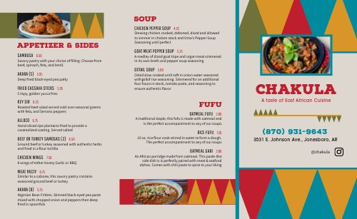 African Food Takeout Menu Example