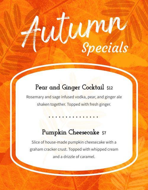 Autumn Specials Flyer