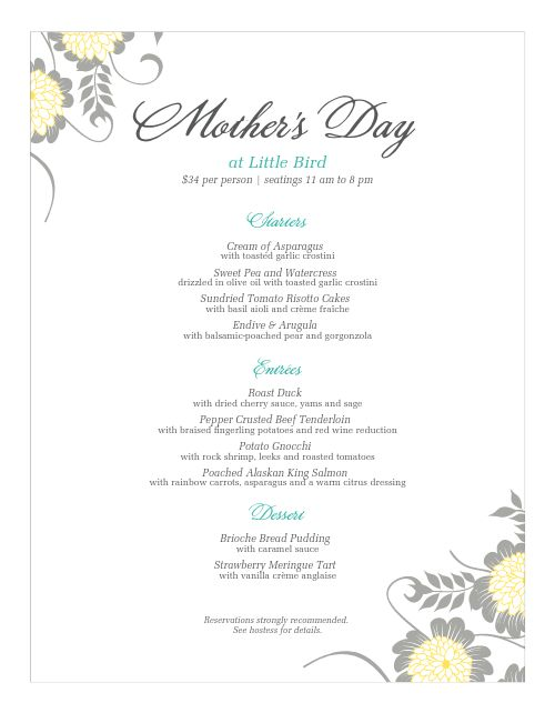 Menu for Mothers Day