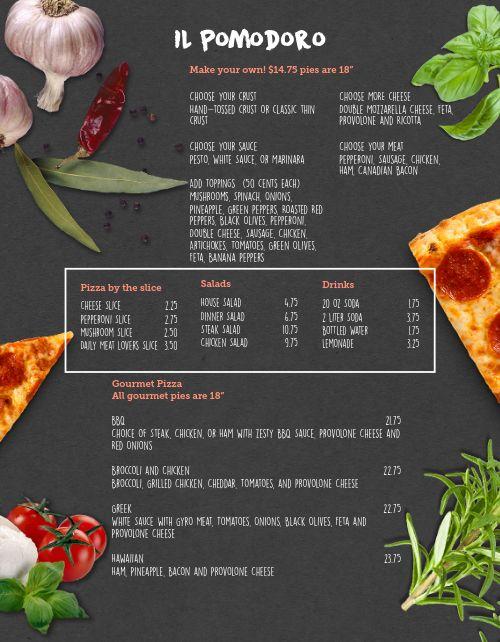 Blackboard Pizza Menu