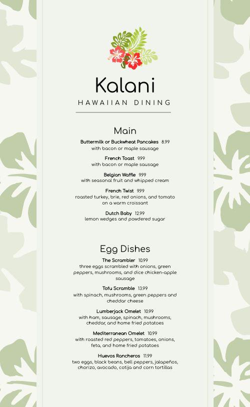 Hawaiian Breakfast Menu