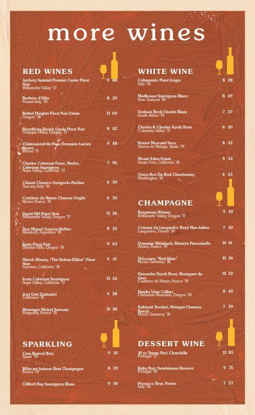 Orange Wine List Menu