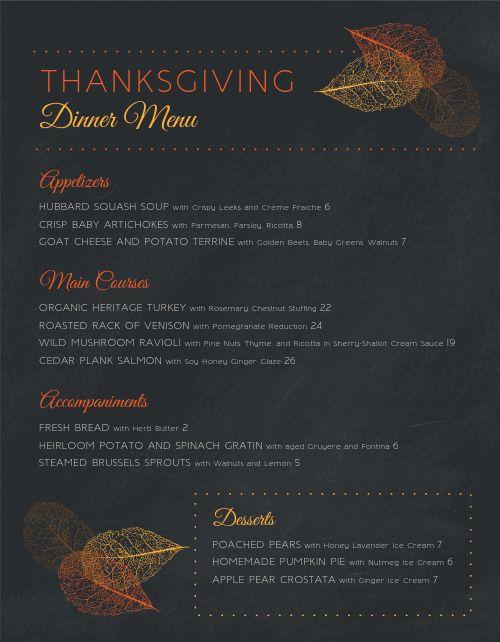 Special Thanksgiving Menu