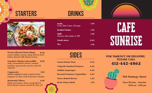 Assisted Living Cafe Takeout Menu