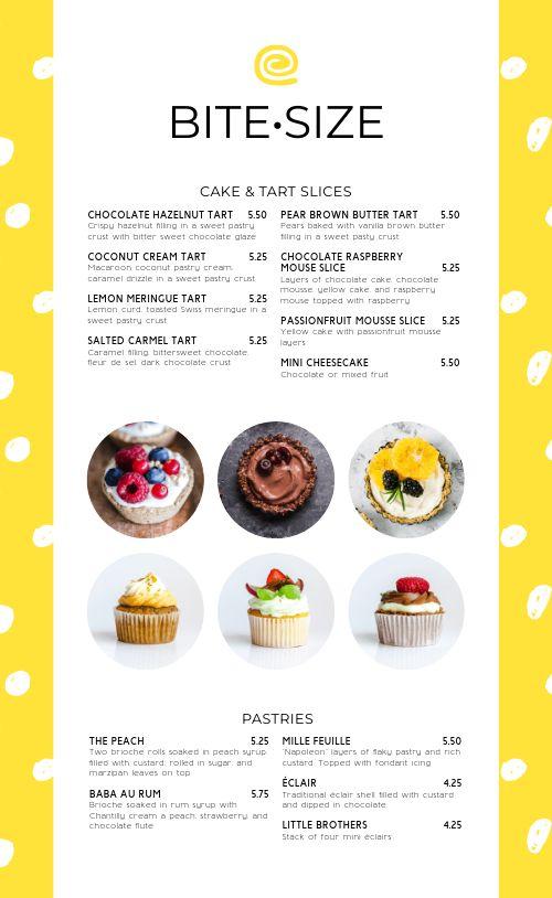 Cupcake Bakery Menu