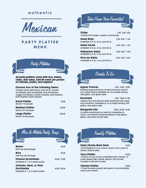 Mexican Platter Menu