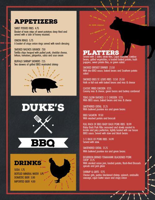 Farmhouse BBQ Menu
