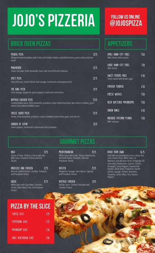 Charcoal Pizza Menu