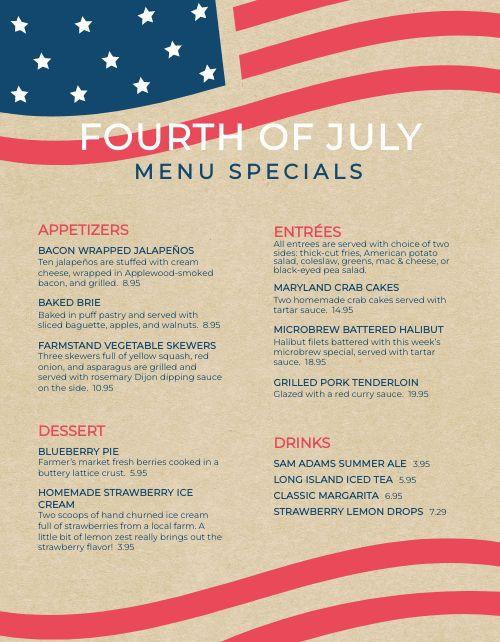 July Fourth Specials Menu